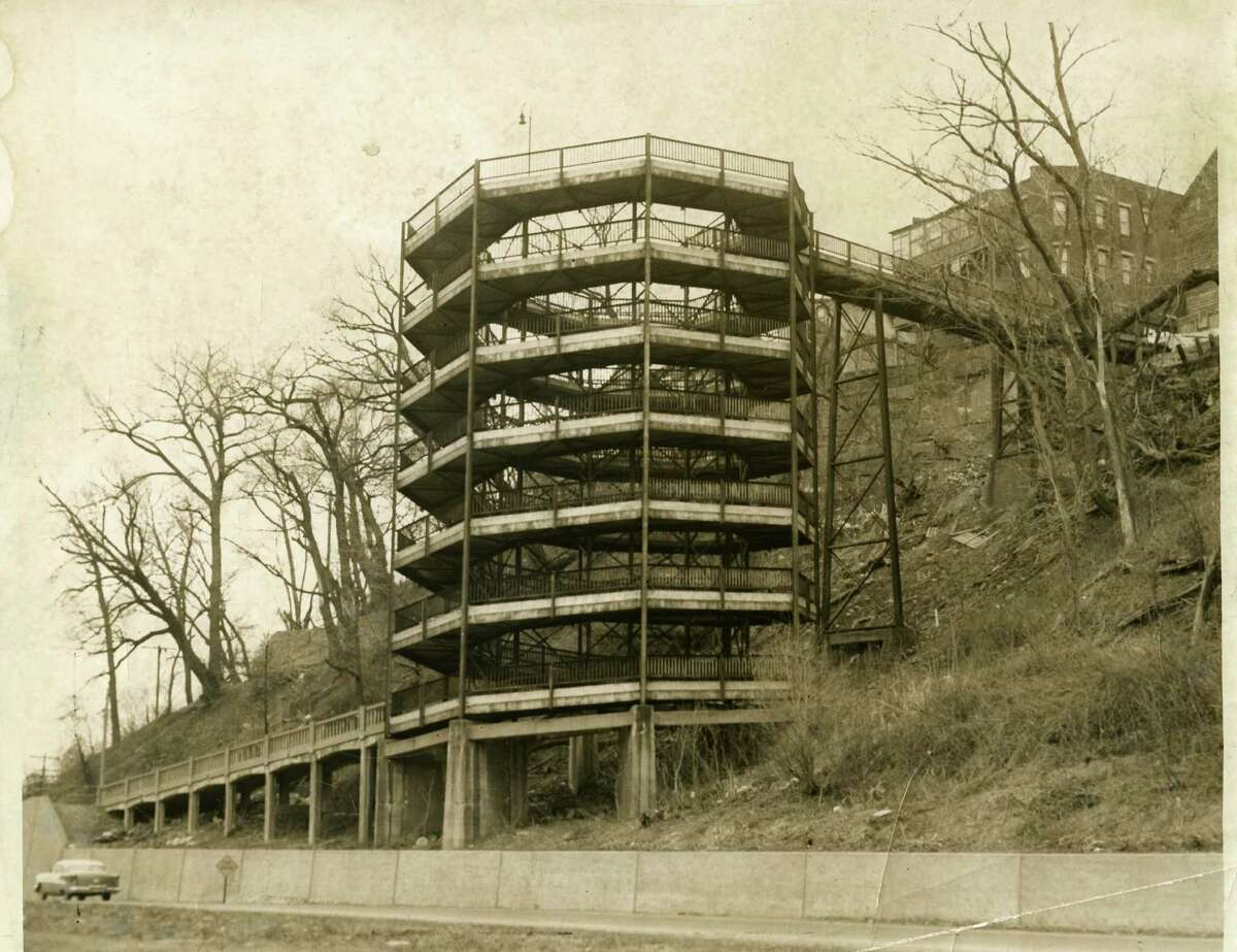 The Klondike Ramp in Schenectady that allowed General Electric workers to walk from what is now called Hamilton Hill to Broadway. The ramp was removed in 1958, but the concrete walkway leading to it remains at the Broadway exit of I-890. (Photo courtsey of the Schenectady County Historical Society)