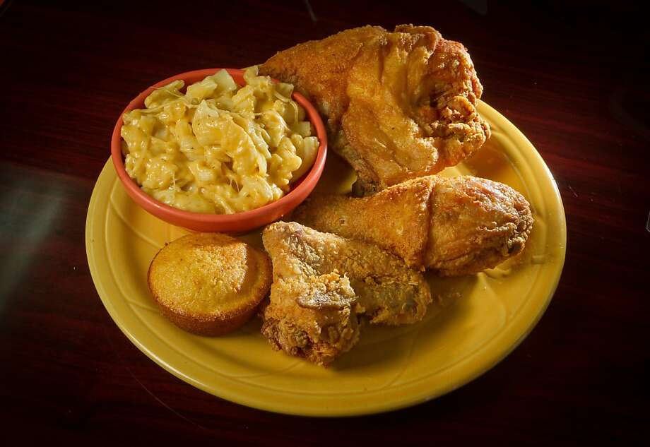Frisco Fried: Since it opened in 2010, this Bayview restaurant has become our favorite stop for straightforward chicken with a light, crisp coating. Each order ($8.99 for two pieces, $10.99 for three) comes with corn bread and two sides. While the chicken, produced by Marcel Banks and his uncle, Gregory, is exemplary, the greens are just as good. The decor is like a pep rally for San Francisco sports teams, with Giants-orange walls and framed 49ers jerseys.  Vitals: 5176 Third St. (near Thornton Avenue), S.F.; (415) 822-1517. www.friscofried.biz. Lunch and dinner daily. No alcohol. Photo: John Storey, Special To The Chronicle