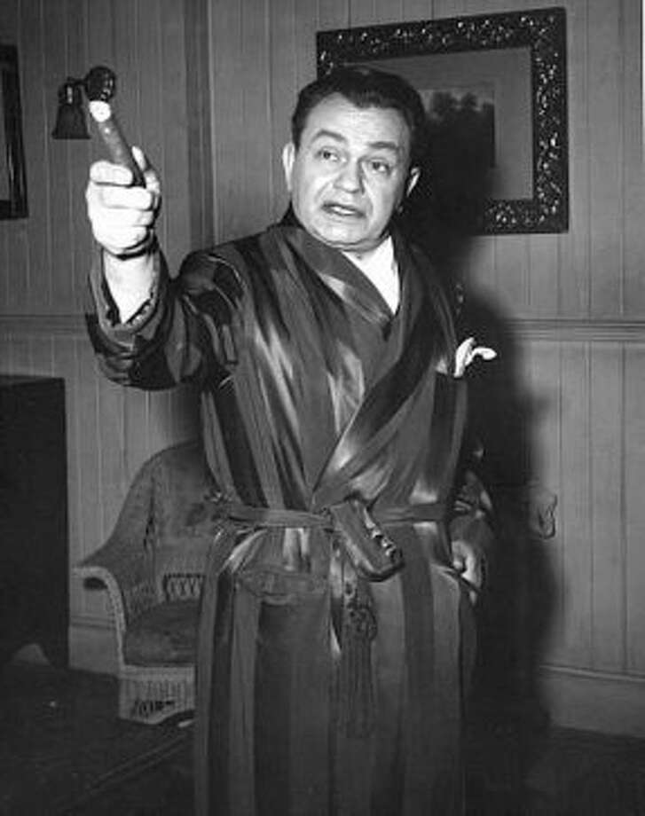"Edward G. Robinson on the set of ""Key Largo"" in 1948 (MPTV.net)"