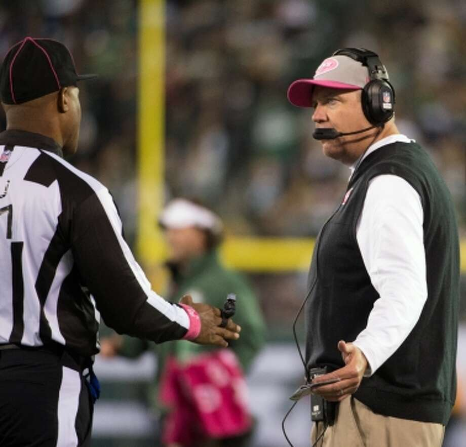 Jets head coach Rex Ryan arguers for a call during the second quarter. (Houston Chronicle)