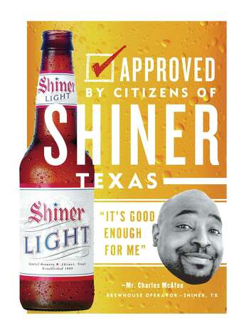 Ads for the new Shiner Light will feature photos and signatures of Shiner residents, for whom the brewery (below right) is a familiar local landmark. Local folks also will make radio and TV spots.