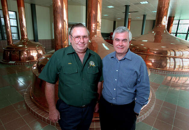 Shiner Brewery Brewmaster John Hybner (L) and Gambrinus CEO Carlos Alvarez in the Brew House at the Shiner Brewery in Shiner, Texas. Hybner has worked for Shiner in various positions for the past 32 years. Staff Photo By: John Davenport, 98-1675. Photo: JOHN DAVENPORT, SAN ANTONIO EXPRESS-NEWS / SAN ANTONIO EXPRESS-NEWS