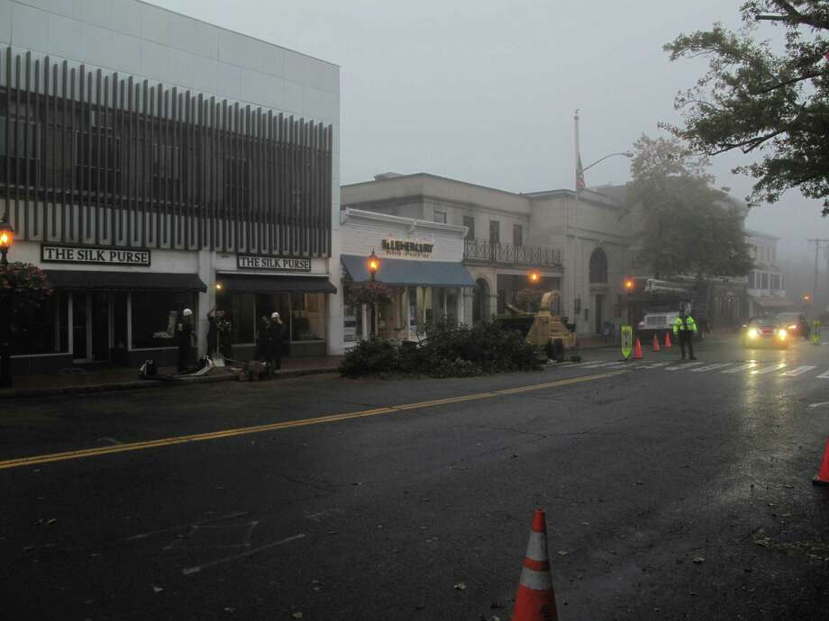 Bradford Pear trees on Main Street were removed Thursday morning, 10/4/12. Photo: Tyler Woods