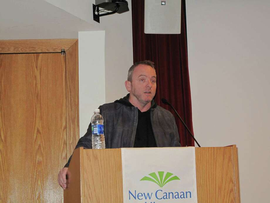 Author Dennis Lehane speaks at the New Canaan Library. 10/8/12. Photo: Tyler Woods