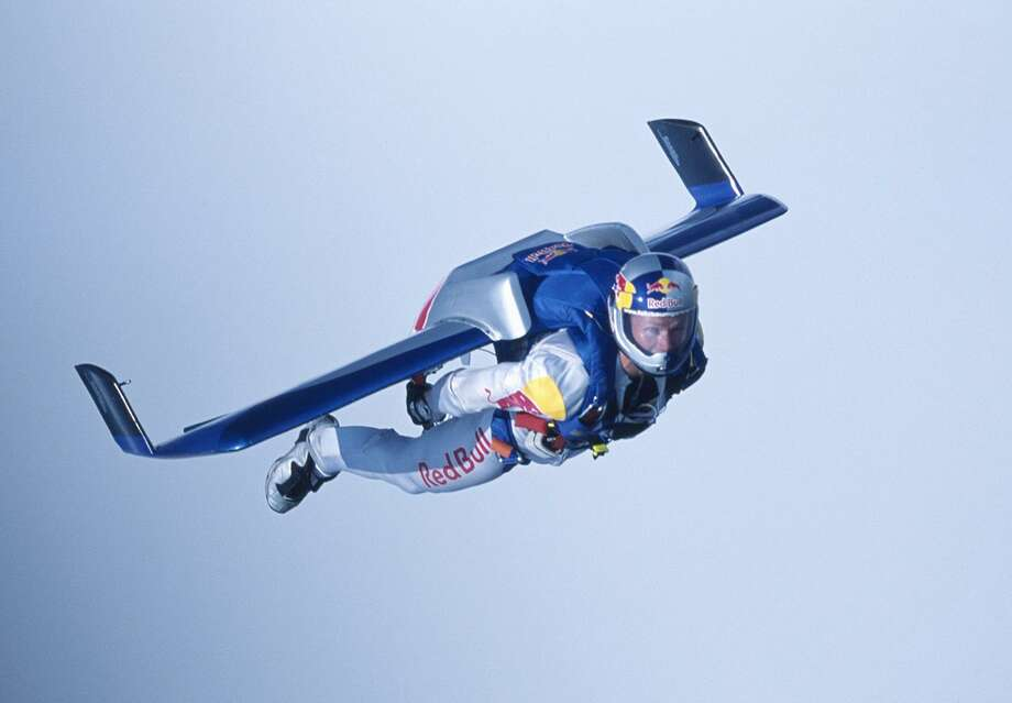 Felix Baumgartner tests his carbon fiber wing on July 30, 2003, a day before he became the first person to fly unpowered across the English Channel. Photo: AFP/Getty Images