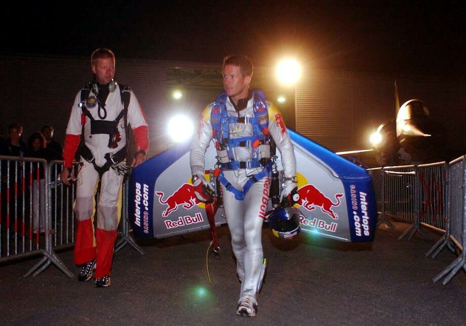 Felix Baumgartner walks to an airplane to attempt the first unpowered crossing of the English Channel  on July 31, 2003 -- 94 years after Luis Bleriot first crossed the Channel with an airplane. The plane carried him to about 33,000 feet, and then he jumped. Photo: AFP/Getty Images