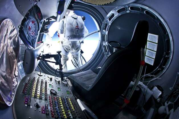 Felix Baumgartner of Austria steps out from the capsule during the second manned test flight for Red Bull Stratos on July 25, 2012 over Roswell, N.M. Photo: Handout, Getty Images / 2012 Red Bull