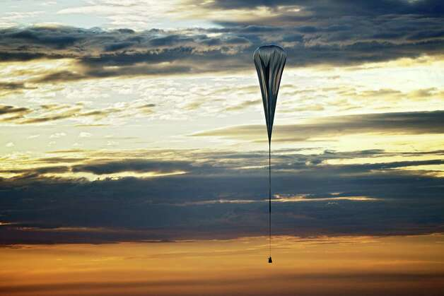 A balloon carriesn Felix Baumgartner to nearly 97,000 for the second manned test flight for Red Bull Stratos in Roswell, N.M. on July 25, 2012. Photo: AFP, AFP/Getty Images / 2012 AFP
