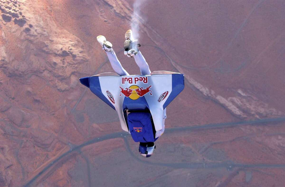 Felix Baumgartner tests a carbon fiber wing in this undated photo before his attempt at the first unpowered crossing of the English Channel in 2003.
