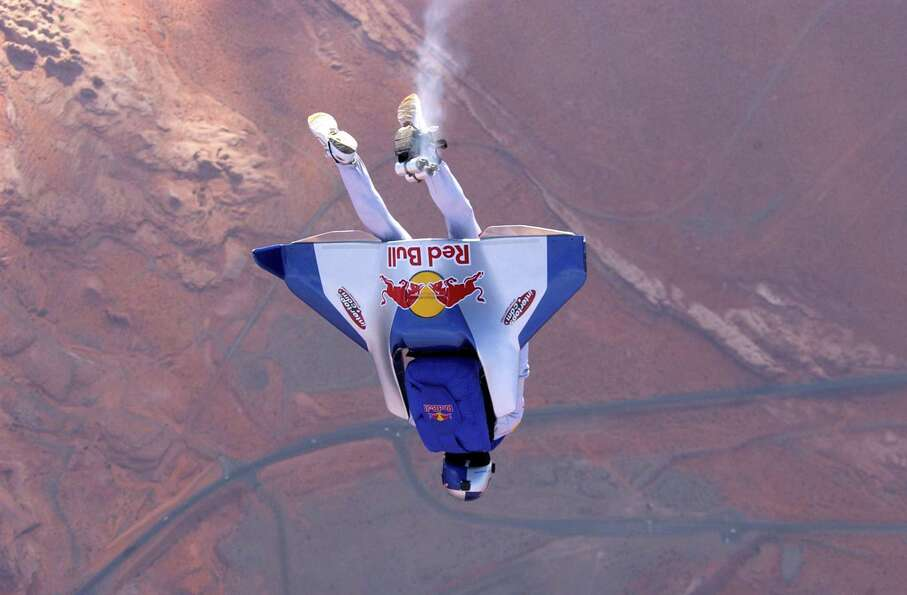 Felix Baumgartner tests a carbon fiber wing in this undated photo before his attempt at the first un