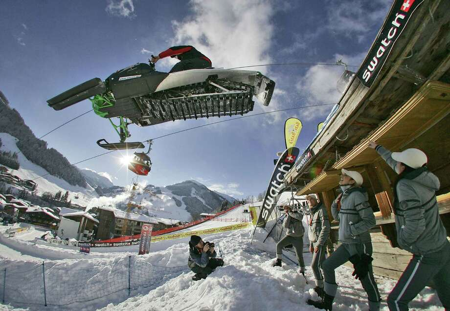Felix Baumgartner performs during training for the Swatch Snow Mobile competition on December 15, 2007 in Saalbach-Hinterglemm, Austria. Photo: Handout, Getty Images / 2007 Getty Images