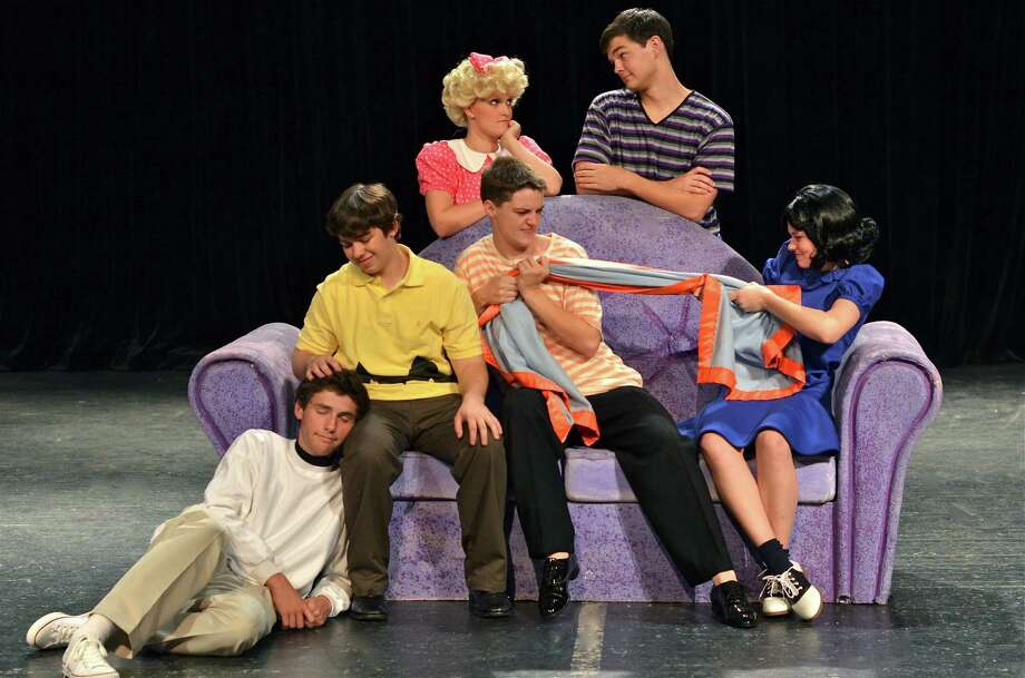 """Stratford High School actors in """"You're A Good Man, Charlie Brown"""" are: Graham Baker, left, Hayden McMordie, Leigh Lloveras, Hayden Parsley, McGregor Dalton and Christina Read.  Photo by Claire Sharp. Photo: Claire Sharp"""