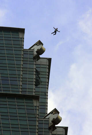 Felix Baumgartner jumps from the Taipei 101 tower in 2007, in Taipei, Taiwan. It was the world's tallest building at the time. Photo:     Bernhard Spoettel/Red Bull