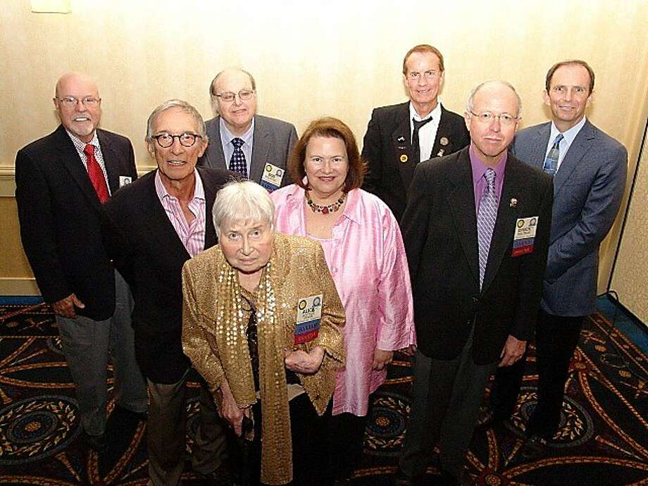 The newest Bay Area Radio Hall of Famers: Stan Burford (left), Tony Salvadore, Alice Potter (front), Bob Melrose, Susan Leigh Taylor, Steven Seaweed, Chuck Waltman and Ted Robinson. The absent Greg Kihn sent a video. Photo: Robert Mohr