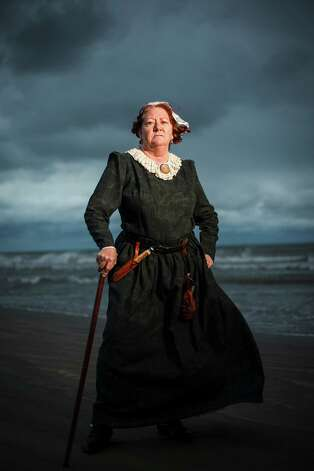 "Helen Mooty poses for a portrait while dressed as Jane Long, the ""Mother of Texas.""   The Jane Long Festival will take place Oct. 13, 2012, at Fort Travis Seashore Park on Bolivar Peninsula. Photo: Michael Paulsen, Staff / © 2012 Houston Chronicle"