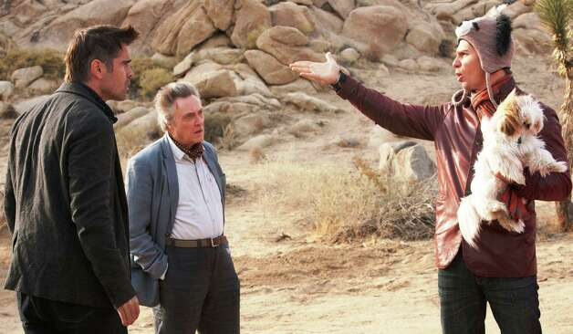 "Colin Farrell, left, as Marty, Sam Rockwell, right, as Billy and Christopher Walken as Hans star in the comedy ""Seven Psychopaths."""