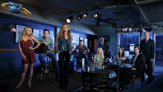 """Nashville"" stars Hayden Panettiere, from left, Charles Esten, Connie Britton, Sam Palladio, Clare Bowen, Robert Wisdom, Jonathan Jackson, Eric Close and Powers Boothe. Photo: Bob D'Amico, ABC / © 2012 American Broadcasting Companies, Inc. All rights reserved."