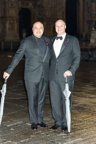 Jay Phillips (left) and Steven Hare had their weekend wedding reception at the recently opened Armani Hotel in Milan. Photo: Cooper Carras