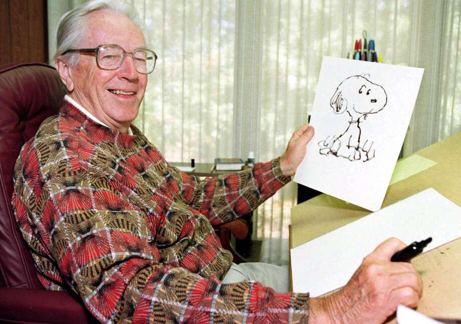 "Charles Schulz in 1997. His last Sunday ""Peanuts"" strip ran on Feb. 13, 2000, hours after he died in his home in Santa Rosa., Calif.  Photo: BEN MARGOT / AP"