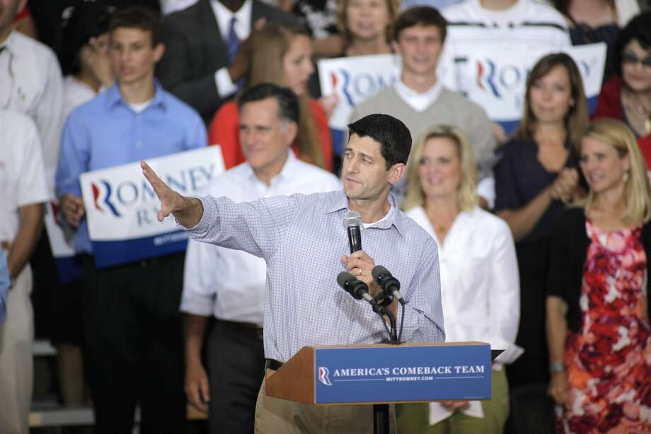 WAUKESHA, WI - AUGUST 12: Republican vice presidential candidate and Wisconsin native Rep. Paul Ryan (R-WI) speaks during a campaign event at the Waukesha Expo Center on August 12, 2012 in Waukesha, Wisconsin. Romney continues his four day bus tour a day after announcing his running mate, Rep. Paul Ryan. (Photo by Darren Hauck/Getty Images) (Darren Hauck / Getty Images)