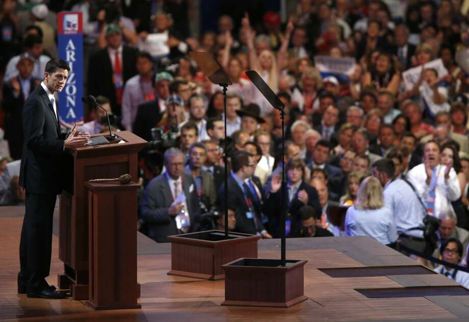 Republican vice presidential nominee, Rep. Paul Ryan addresses the Republican National Convention in Tampa, Fla., on Wednesday, Aug. 29, 2012. (AP Photo/Jae C. Hong) (Associated Press)
