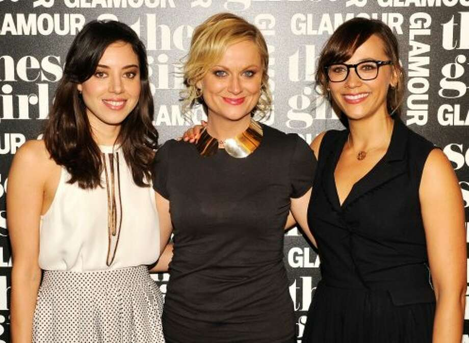 "(L-R) Actresses Aubrey Plaza, Amy Poehler, and Rashida Jones of ""Parks and Recreation"" attend Glamour Presents ""These Girls"" at Joe's Pub on October 8, 2012 in New York City.  (Stephen Lovekin / Getty Images for GLAMOUR)"
