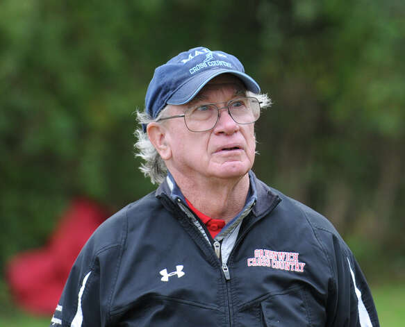 Greenwich High School cross country coach Bill Mongovan during the boys high school cross country meet at Greenwich Point, Tuesday afternoon, Oct. 9, 2012. Photo: Bob Luckey / Greenwich Time