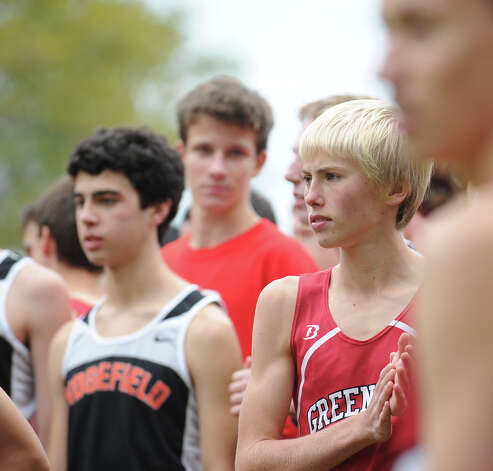 Andy Kates of Greenwich High School gets ready to run during the boys high school cross country meet at Greenwich Point, Tuesday afternoon, Oct. 9, 2012. Photo: Bob Luckey / Greenwich Time