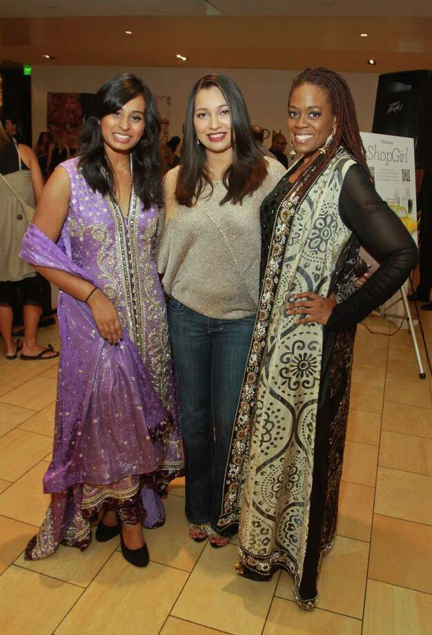 Zahra Ahmed, left,  designer Sameera Faridi and Stacy Robinson attended the recent ShopGirl Lounge for Fashion's Night Out at the Galleria. Ahmed and Robinson modeled Faridi's designs. Photo: Gary Fountain / Copyright 2012 Gary Fountain.