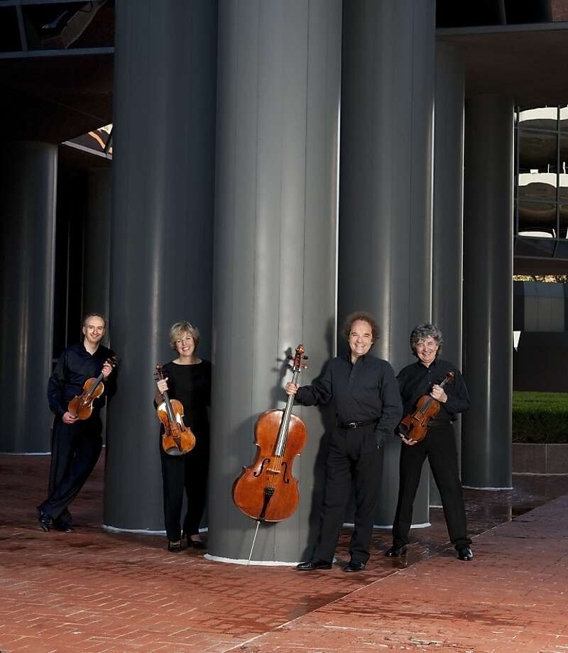 Takács Quartet - featuring Edward Dusinberre, violin; Károly Schranz, violin; Geraldine Walther, viola; András Fejér, cello - plays at Herbst Theatre. Photo: Ellen Appel
