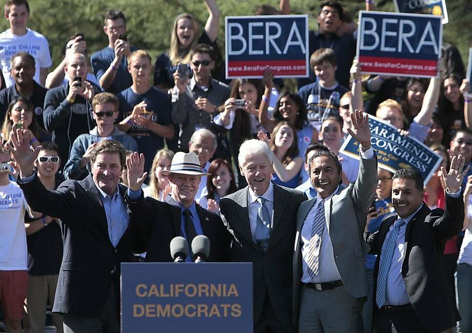 Former President Bill Clinton (center) is flanked by House candidates incumbent Reps. John Garamendi (left) and Jerry McNerney, as well as Ami Bera and Jose Hernandez. Photo: Rich Pedroncelli, Associated Press