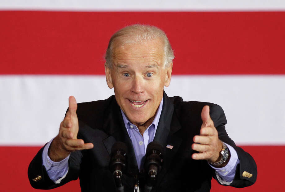 Vice President Joe Biden speaks in Council Bluffs, Iowa, Thursday, Oct. 4, 2012. (AP Photo/Nati Harnik) Photo: AP, STF / AP