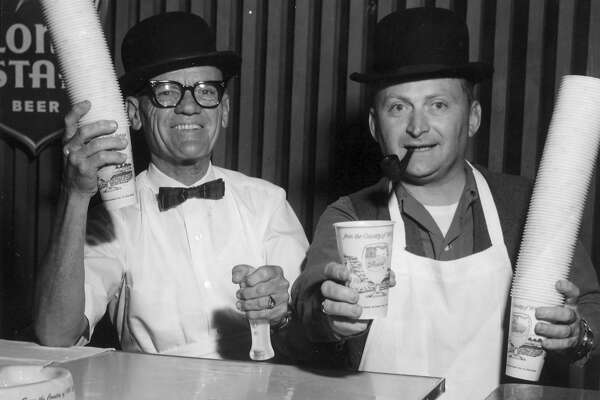 """Bartendographers"" Bill and Jimmy sell Lone Star Beer at Fiesta in 1964. San Antonio Express-News file photo"