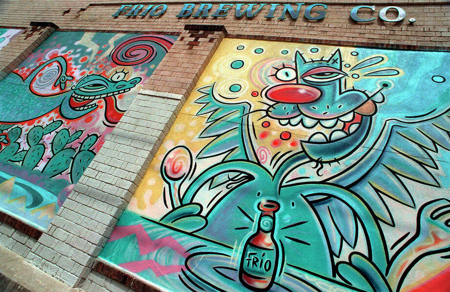 The exterior wall of the Frio Brewing Co is decorated with murals painted by Robert Tatum. Photo: GLORIA FERNIZ, - / SAN ANTONIO EXPRESS-NEWS