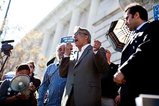 Former Sheriff Ross Mirkarimi attends addresses supporters at a rally on the steps of City Hall before his hearing with the Board of Supervisors in San Francisco, Calif., Tuesday, October 9, 2012. Photo: Jason Henry, Special To The Chronicle