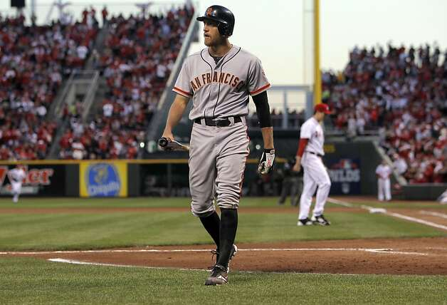 Giants' Hunter Pence down on strikes to end the fourth inning, as the San Francisco Giants take on the Cincinnati Reds in game three of the National League Division Series in Cincinnati, Ohio on Tuesday Oct. 9, 2012. Photo: Michael Macor, The Chronicle