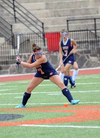Danbury's Whitney Dyer (7) controls the ball during the field hockey game against Stamford at Stamford High School on Tuesday, Oct. 9, 2012. Photo: Amy Mortensen / Connecticut Post Freelance