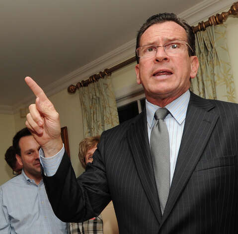 Connecticut Gov. Dannel P. Malloy during a campaign event for Democrat John Blankley at Blankley's Greenwich home, Tuesday night, Oct. 9, 2012. Blankley is running against Republican incumbent state Rep. Livvy Floren, for the 149th District seat. Photo: Bob Luckey / Greenwich Time