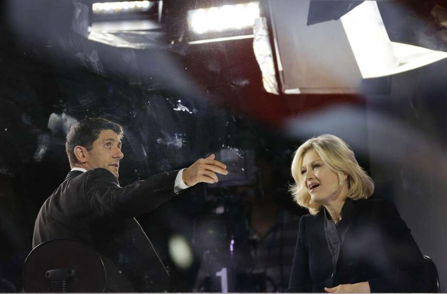 Republican vice presidential nominee, Rep. Paul Ryan is interviewed by television anchor Diane Sawyer before the Republican National Convention in Tampa, Fla., on Thursday, Aug. 30, 2012. (AP Photo/Lynne Sladky) (Associated Press)