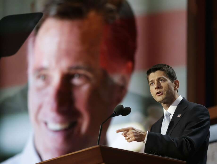 Republican vice presidential nominee, Rep. Paul Ryan addresses the Republican National Convention in Tampa, Fla., on Wednesday, Aug. 29, 2012. (AP Photo/Charles Dharapak) (Associated Press)