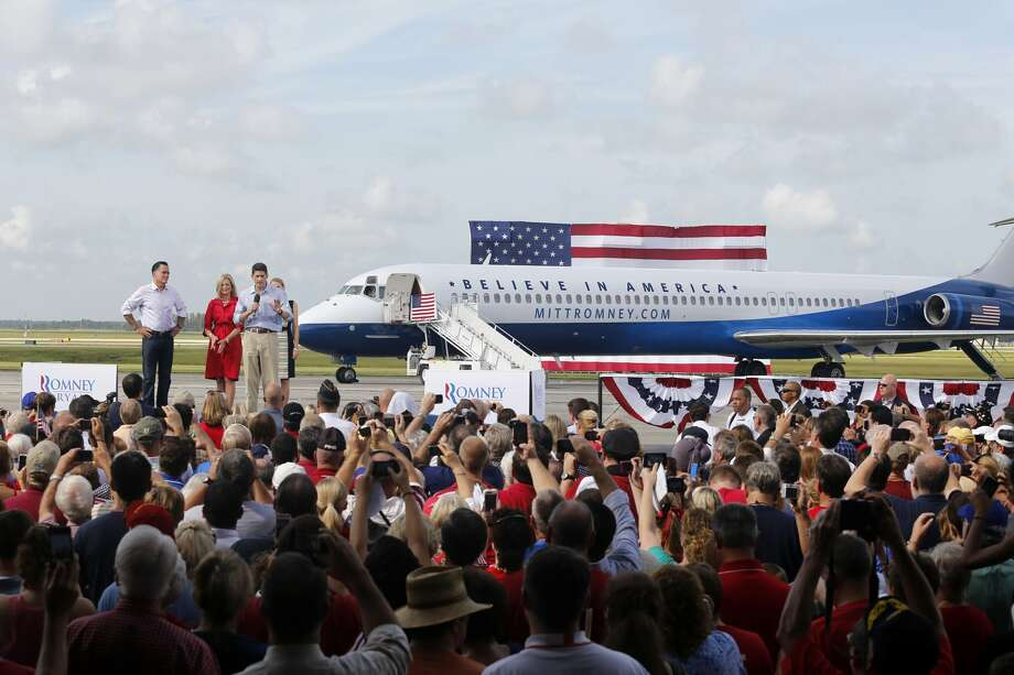 Republican vice presidential candidate, Rep. Paul Ryan, R-Wis., his wife Janna, Ann Romney and Republican presidential candidate, former Massachusetts Gov. Mitt Romney participate in a campaign stop at Lakeland Regional Airport, Friday, Aug. 31, 2012, in Lakeland, Fla. (AP Photo/Scott Iskowitz) (Associated Press)