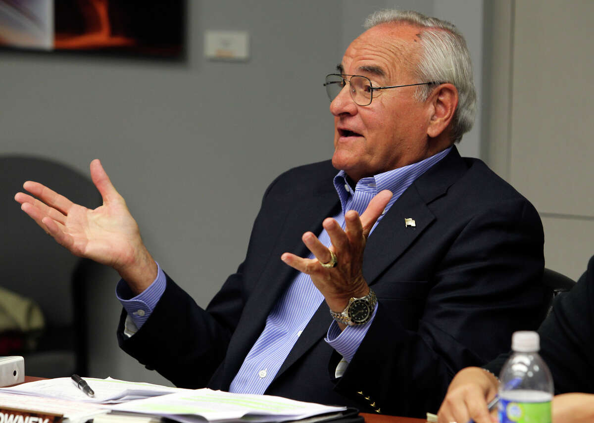 Chairman Arthur Downey asks for explanations as Deputy City Manager Pat DiGiovanni goes before an ethics review board to examine whether he violated the city ethics code when he served on a committee evaluating Zachry Corporation for a city contract. October 9, 2012.