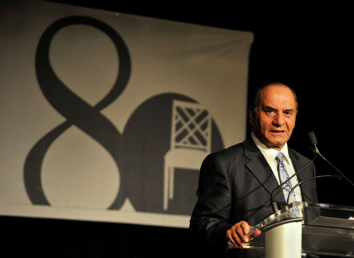Farooq Kathwari, president and CEO of Ethan Allen, speaks during a reception celebrating the company's 80th anniversary at the Ethan Allen Hotel in Danbury on Tuesday, Oct. 9, 2012.