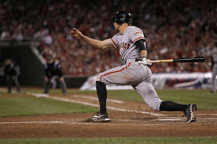 The Giants' Hunter Pence singled in the tenth inning to move teammate Buster Posey to second base, as the San Francisco Giants went  on to beat the Cincinnati Reds 2-1, in Game 3 of the National League Division Series in Cincinnati, Ohio on Tuesday Oct. 9, 2012. Photo: Michael Macor, The Chronicle