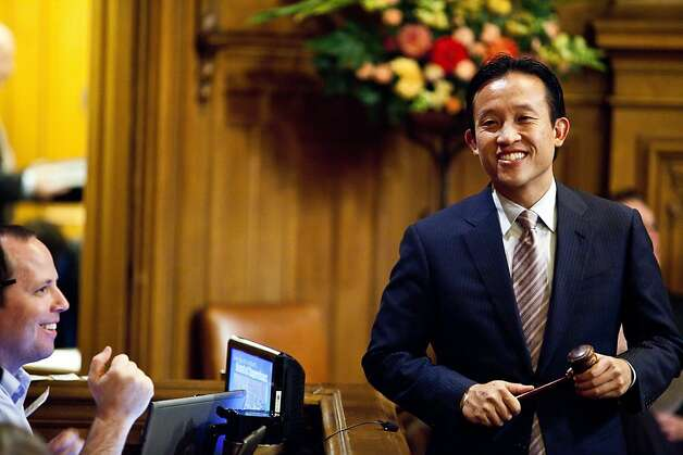 President of the board of supervisors David Chiu enters the chamber before the hearing for Ross Mirkarimi at City Hall in San Francisco, Calif., Tuesday, October 9, 2012. Photo: Jason Henry, Special To The Chronicle