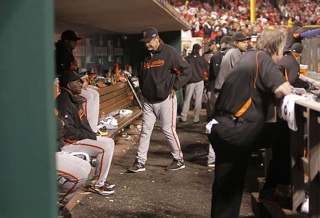 Giants' manager Bruce Bochy paces the dugout with the score tied at 1-1 in the ninth inning, as the San Francisco Giants went on to beat the Cincinnati Reds 2-1 in ten innings, in game three of the National League Division Series in Cincinnati, Ohio on Tuesday Oct. 9, 2012. Photo: Michael Macor, The Chronicle