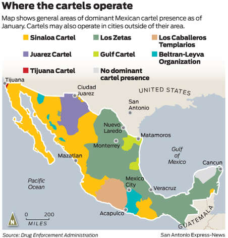 Map shows general areas of dominant Mexican cartel presence as of January. Cartels may also operate in cities outside of their area.   Photo: Mike Fisher
