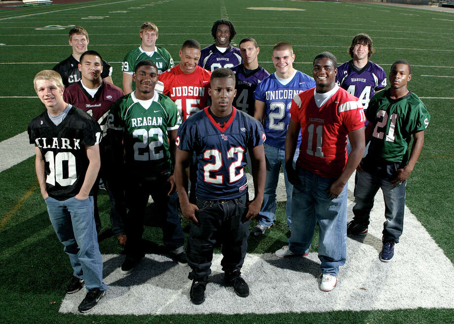 CLASS 5A ALL-AREA DEFENSE: (front row, left to right) -- Aaron Durke of Clark (10), Nick Berry of Roosevelt (21), Reggie Pierce of Lee (11) and Paris Johnson of Southwest (21); (middle area, left to right) -- Anthony Puente of Marshall (44), Kyle Davis of Reagan (22), Chris McAllister of Judson (15), Joseph Bonugli of Warren (4), Tom Wort of New Braunfels (21), and Ricardo Espinoza (44) of Warren; (back area, left to right) -- Adair Campbell of Clark, Spencer Nealy of Reagan and Calvin Howell of Warren. Photo: San Antonio Express-News File Photo / kgeil@express-news.net