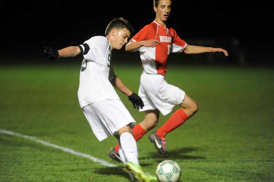 Shen's Christopher Schmid takes a shot on goal during the Shenendehowa vs Niskayuna boys high school soccer game in  Clifton Park, NY Tuesday Oct. 9, 2012. (Michael P. Farrell/Times Union) Photo: Michael P. Farrell