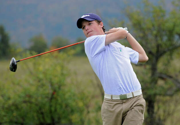 Davis Jensen of Shaker H.S. drives off a tee during the Section II A-B-C-D golf championships at Orchard Creek Golf Course Tuesday, Oct. 9, 2012 in Altamont, N.Y. (Lori Van Buren / Times Union) Photo: Lori Van Buren